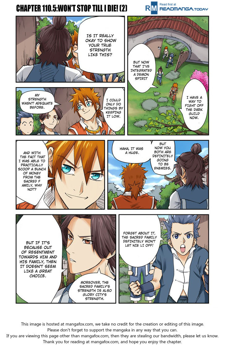 Tales of Demons and Gods 110.5: Won't Stop Till I Die!! (2) at MangaFox